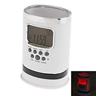 """2 """"Pen Case LCD Digital vækkeur med termometer, evighedskalender og snooze funktion (White, 3xAAA)"""