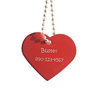 Personalizado Forma presente vermelha do coração Pet Nome Id Tag com Corrente para Cães