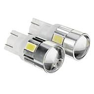 T10 149 W5W 1W 80LM 6000K 6x5730SMD refrescan la lámpara LED de luz blanca para el coche (12-14V, 2 unidades)