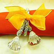 12 pcs acrílico anéis de guardanapo redondo amarelo conjunto