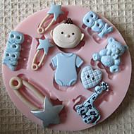 3d garçon moule outils pour l'artisanat moules moule jouet de bébé de silicone fondantes de sucre dans le chocolat pour les gâteaux