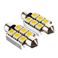 Festoon 1.4W 6x5050SMD 100LM 3000K Warm White Light LED Bulb for Car (12V,2 pcs)