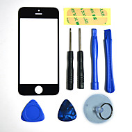 Repair LCD Front Screen Glass Lens Part with 3M Sticker and Assembly Tools for iPhone 5 (Black)