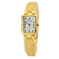Women's Rectangle Dial Hollow Engraving Alloy Band Quartz Analog Wrist Watch (Assorted Colors)