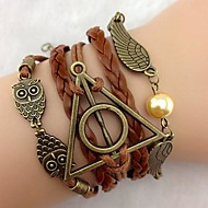 Bracelet Leather bracelet Rope Bracelet Wings Owl Christmas Gift Antique Infinity Jewelry