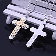 Aço inoxidável presente personalizado Zircon Cruz em forma de colar de pingente gravado jóias (Dentro de 10 caracteres)