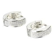 Gift For Boyfriend Fashion Glitter Silver Titanium Steel Stud Earrings (1 Pair)