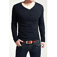 Men's Solid Casual / Sport T-Shirt Long Sleeve-Black / Brown / White / Gray