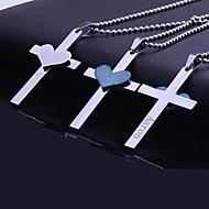 Presente personalizado aço inoxidável Coração Bíblia Cruz Gravado pingente de colar com 60 centímetros Cadeia