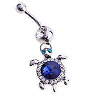 lureme®316l χειρουργικό ατσάλι τιτάνιο κρυστάλλους πλήρους χελώνα κοσμήματα σώματος κόσμημα \\\\\\