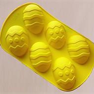 6 홀 부활절 달걀 모양 케이크 형, 실리콘 소재, 큰 크기, 색상 랜덤