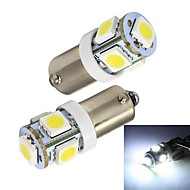 Merdia BA9S 65LM 1W 5x5050SMD LED Witte Auto Indicator Light / Instrument / Ontruiming Lamp-(A Pair/12V)