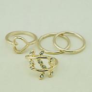 European Heart Shape Gold Women'S Clear With Cubic Zirconia Midi Rings(4 Pcs)