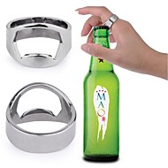 Estilo del anillo de dedo del acero inoxidable de la botella de cerveza del abrelatas del vino (diámetro 20 mm) - Plata