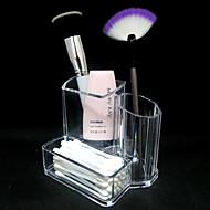 Acrylic Transparent 2in1 Cosmetics Storage Stand Makeup Brush Pot&Swab Box Cosmetic Organizer