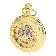 Men's Mechanical Hollow Dial Gold Alloy Pocket Watch