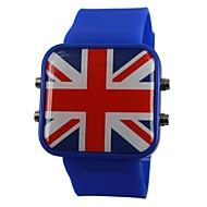 Unisex LED Anglia Stilul de pavilion silicon trupa încheietura ceas (culori asortate)