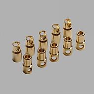Connecteurs 6.0mm plaqué or Banana / Bullet thermorétractable Tube (10 paires)