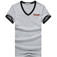 Men's Solid Casual / Work / Sport T-Shirt,Cotton Short Sleeve-Black / Blue / Purple / Red / White / Yellow / Gray