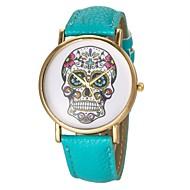 relógio padrão crânio moda feminina