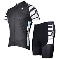 Black and White Stripe Primavera e Verão Estilo Lycra Masculina PaladinSport e Poliéster Manga Curta Ciclismo Suits