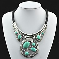 Vintage Antique Silver Turquoise Pendant Necklace(Green)(1 Pc)