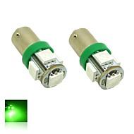 BA9S T4W 1W 5x5050 smd groene lichten LED-lamp voor auto-lamp (dc 12v, 2-pack)
