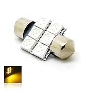 31mm 1W 6x5050 SMD LED 80lm Yellow Amber Lights Festoon Dome License Plate Lamp Bulb for Car (DC 12V)