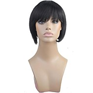 100% Human Hair Bobo Short Straight Full Bangs Capless Black Hair Wig