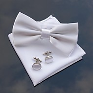 XINCLUBNA® Men's Wedding Party Polyester Bowties with Matching Hanky & Cufflink (10 Color)