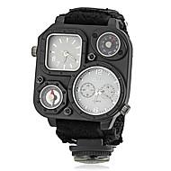 Men's Military Style Dual Time Zones Fabric Band Quartz Wrist Watch Cool Watch Unique Watch