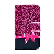 KOKO FUN ® Purple Leopard Pattern Lompakko korttipaikkaa PU nahka asiat jalustan kanssa IPhone 4S Mukana Film And Stylus