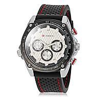 CURREN 男性 軍用腕時計 クォーツ 日本産クォーツ ラバー バンド ブラック ホワイト ブラック