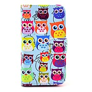 COCO FUN ® Cute Fargerik Owl Mønster PU skinn Full Body sak med film, stå og Stylus for iPhone 4/4S