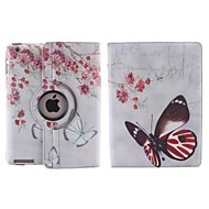 Large and Beautiful Butterfly Pattern 360 Degree Rotating PU Leather Case with Stand for iPad 2/3/4