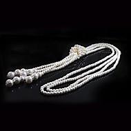 女性用 ストランドネックレス ロングネックレス パールネックレス 円形 真珠 人造真珠 Elegant 多層式 ジュエリー 用途 結婚式 パーティー 日常 カジュアル