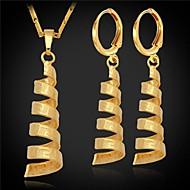 u7® 빈티지 g 패턴 여성의 펜던트 귀걸이 18K 진짜 금 백금은 여성을위한 보석 세트를 도금 설정