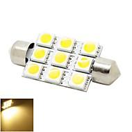 41mm 2W 9x5050 SMD LED warmweiß 180lm Lichter Girlande Kuppel Lese Karte Kennzeichenleuchte Glühlampe für Auto (DC 12V)