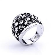 gepersonaliseerde gift modieuze schedel vormige roestvrij stalen sieraden gegraveerd heren ring