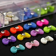 100PCS Mix Color Resin Bow Tie With Rhinestone Accessories Not Include Box 3D Nail Art Decoration