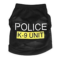 Gatos / Perros Camiseta Negro / Azul / Rosado Verano / Primavera/Otoño Letra y Número / Policía/Militar Moda