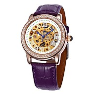 SHENHUA® Women's Hollow Dial Diamond Gold Case Leather Band Auto-Mechanical Wrist Watch (Assorted Colors) Cool Watches Unique Watches