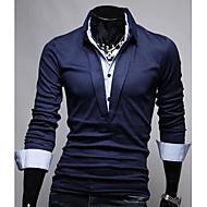 Men's Korean Style Slim Pure Colore Long Sleeves Polo Shirt