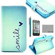 COCO FUN® Cute Heart PU Leather Full Body Case with Screen Protector, Stand and Stylus for iPhone 4/4S