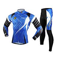 FJQXZ Men's Long Sleeve Cycling Jersey + Tights 3D Slim Cut Breathable Cycling Suit - Black + Blue