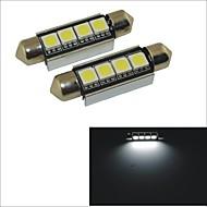 Carking™ 12V 2PCS 5050-4SMD-41MM Car Festoon Interior Light Rome Lamp White Light