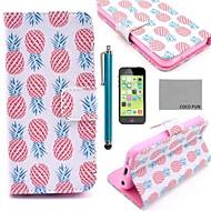 ココは、スクリーンプロテクター、スタイラスでピンクパイナップルパターンPUレザーフルボディケースをfun®とiPhone 5cのためのスタンド