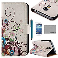 COCO FUN® Purple Rose Silk Pattern PU Leather Case with Screen Protecter and Stylus for Samsung Galaxy S4 Mini i9190