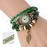 três camadas envoltório pu pulseira de couro analógico das mulheres personalizadas do presente do relógio gravado com strass
