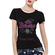 Personalized Rhinestone T-shirts Princess with Crown Pattern Women's Cotton Short Sleeves